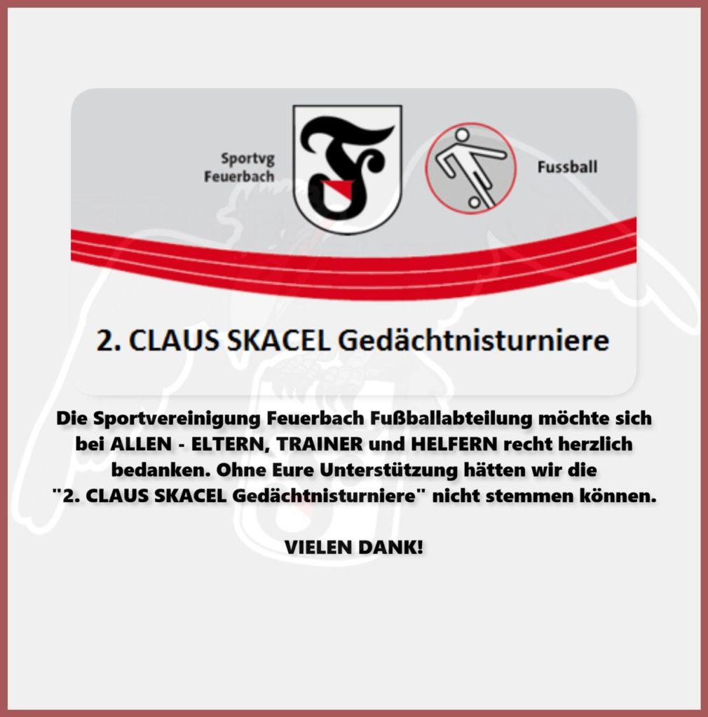 2. CLAUS SKACEL Gedächtnisturniere - Dank